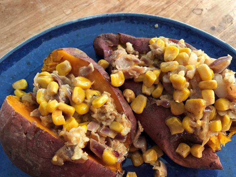 Gevulde zoete aardappel