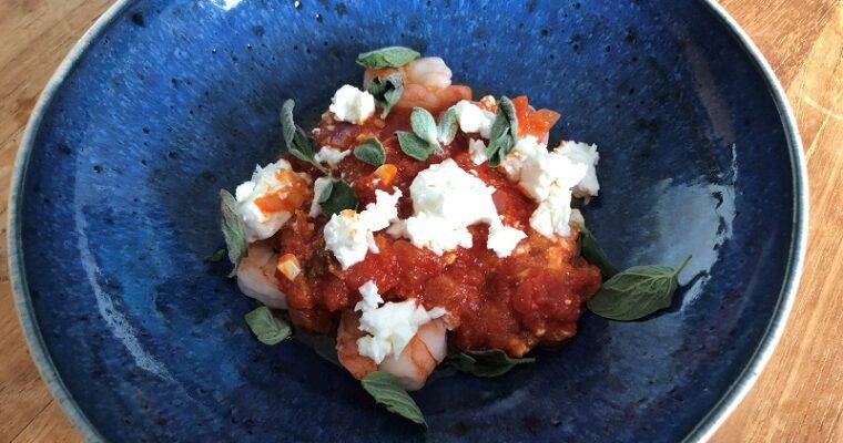 Garnalen met tomaten en feta